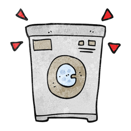 cartoon washing: freehand textured cartoon washing machine