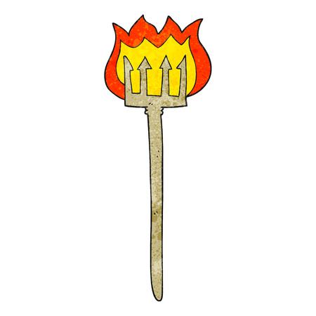 flaming: freehand textured cartoon flaming devil fork Illustration