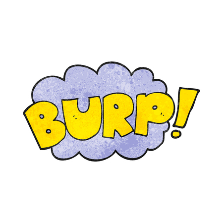 belch: freehand textured cartoon burp text Illustration