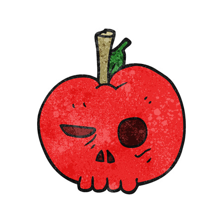 food poison: freehand textured cartoon poison apple