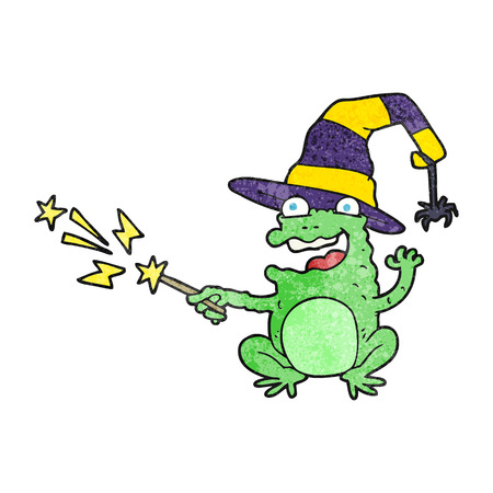 spell: freehand textured cartoon toad casting spell Illustration