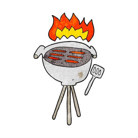 textured: freehand textured cartoon barbecue