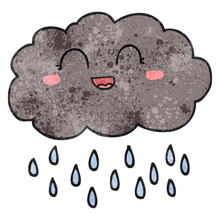 cartoon cloud: freehand textured cartoon rain cloud