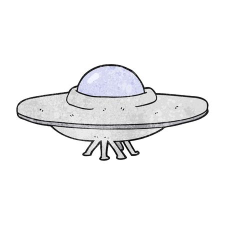 platillo volador: platillo volante a mano alzada de dibujos animados con textura Vectores