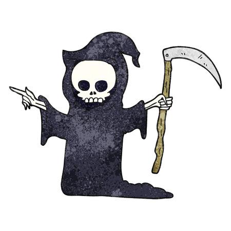guadaña: a mano alzada con textura de la muerte de dibujos animados con la guadaña Vectores