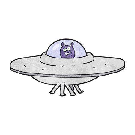 flying saucer: freehand textured cartoon flying saucer
