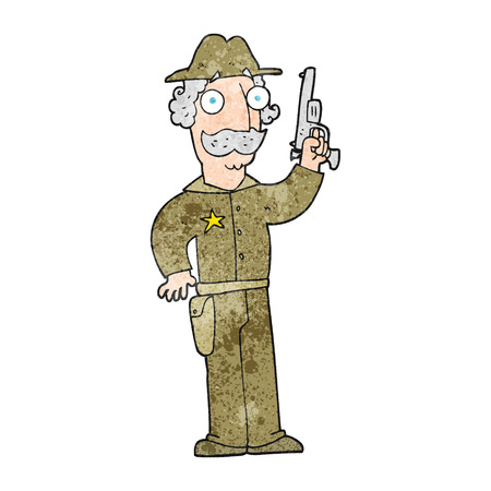 gunfighter: freehand textured cartoon sheriff