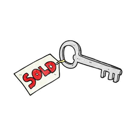 new house: freehand textured cartoon new house key