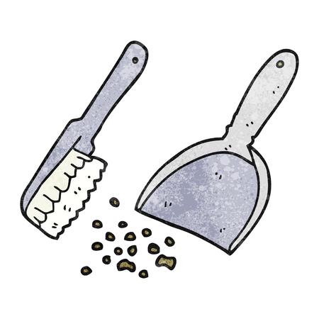 dustpan: freehand textured cartoon dustpan and brush