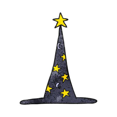 sombrero de mago: a mano alzada sombrero de mago de dibujos animados con textura