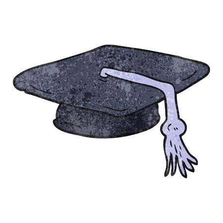 graduacion caricatura: a mano alzada casquillo de la graduaci�n de la historieta con textura Vectores