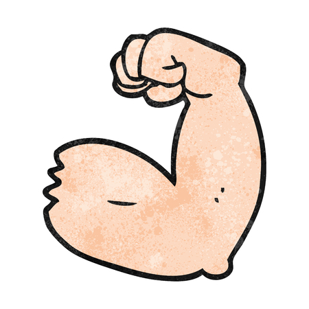 flexing: freehand textured cartoon strong arm flexing bicep