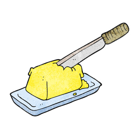 butter knife: freehand textured cartoon knife in butter Illustration
