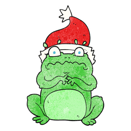 christmas frog: freehand textured cartoon frog in christmas hat Illustration