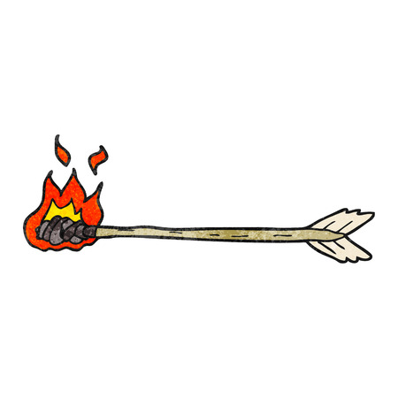 flaming: freehand textured cartoon flaming arrow