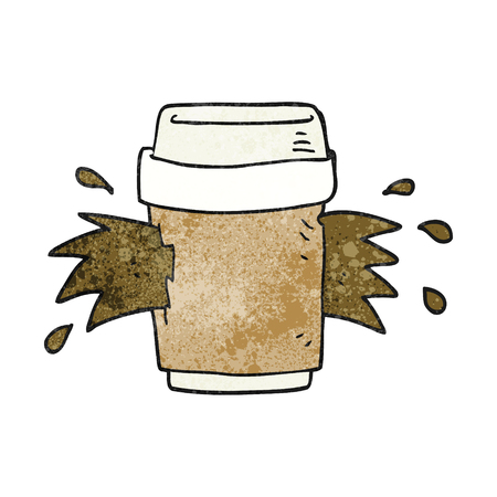 coffee spill: freehand textured cartoon exploding coffee cup