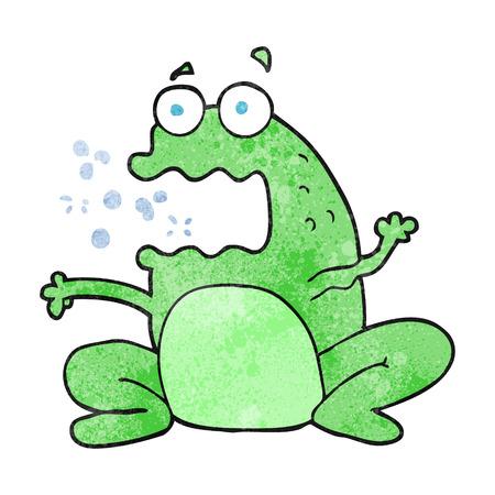 burping: freehand textured cartoon burping frog