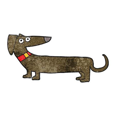 sausage dog: freehand textured cartoon sausage dog Illustration