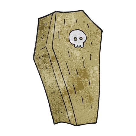 trumna: freehand textured cartoon spooky coffin Ilustracja