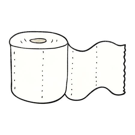 loo: freehand textured cartoon toilet paper Illustration
