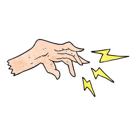 casting: freehand textured cartoon hand casting spell Illustration
