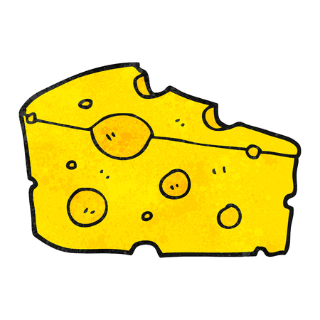 freehand textured cartoon cheese 일러스트