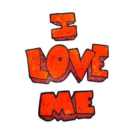 affirmation: i love me freehand textured cartoon symbol