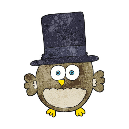 top hat cartoon: freehand textured cartoon owl in top hat