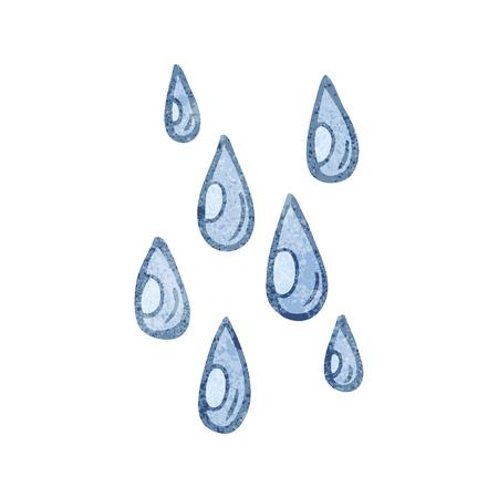 freehand textured cartoon raindrops