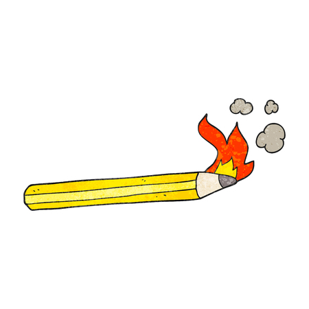 flaming: freehand textured cartoon flaming pencil Illustration