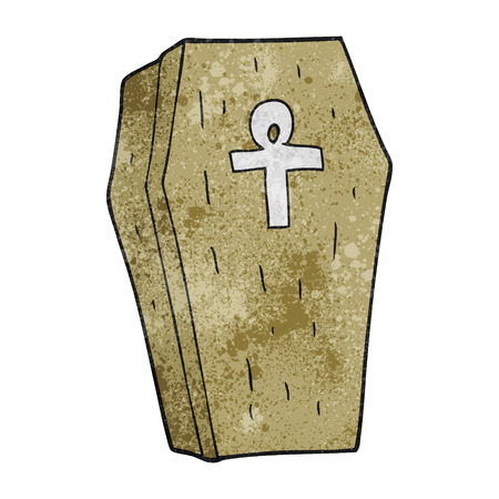 trumna: freehand textured cartoon spooky coffin Ilustracja