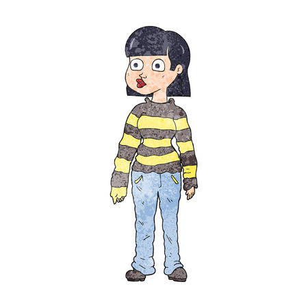 casual: freehand textured cartoon woman in casual clothes