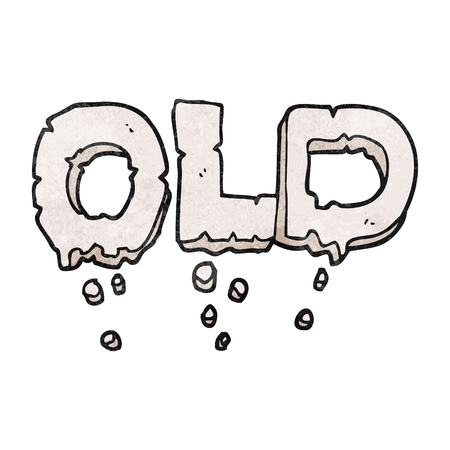 crumbling: freehand textured cartoon word old