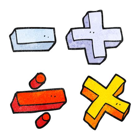 simbolos matematicos: a mano alzada con textura de los s�mbolos matem�ticos de dibujos animados