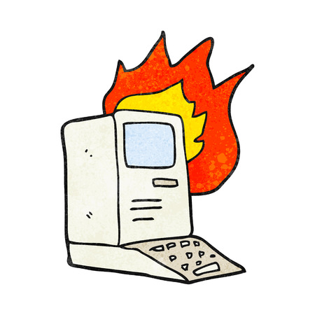 out dated: freehand textured cartoon old computer on fire Illustration