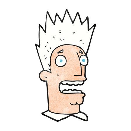 shocked man: freehand textured cartoon shocked man Illustration