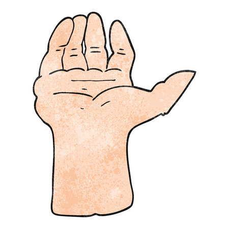 a mano alzada la mano abierta de dibujos animados con textura