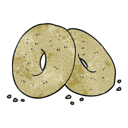 bagels: freehand textured cartoon bagels Illustration