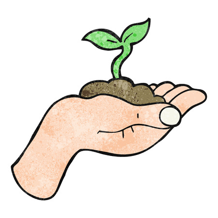 hand held: freehand textured cartoon seedling growing held in hand