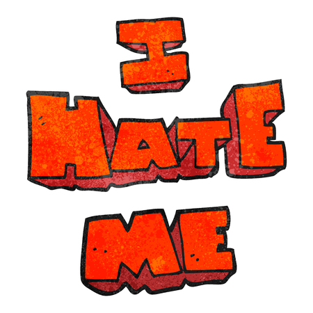hate: I hate me freehand textured cartoon symbol