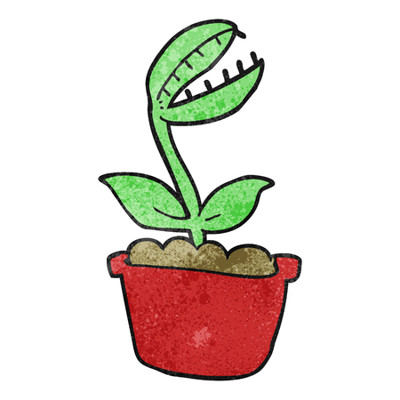 venus: freehand textured cartoon venus fly trap