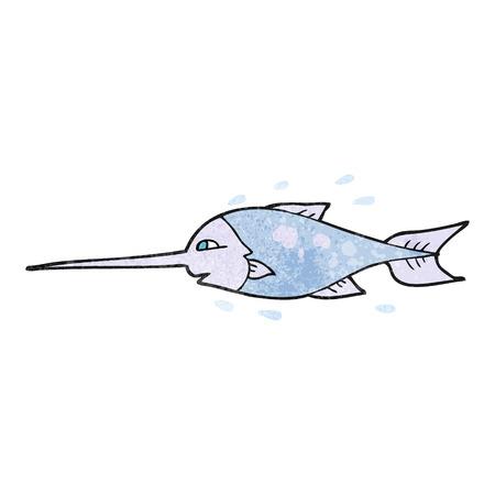 pez espada: a mano alzada con textura de pez espada de dibujos animados Vectores