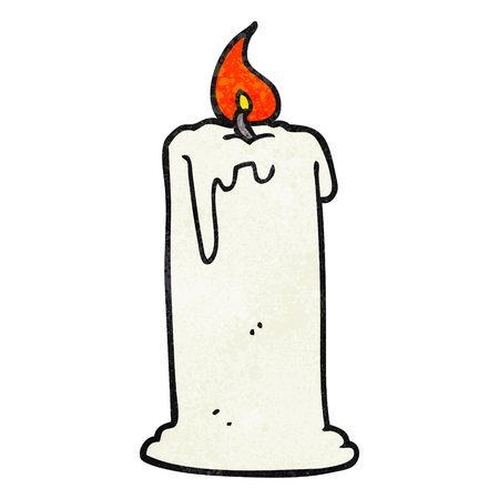 burning: freehand textured cartoon burning candle