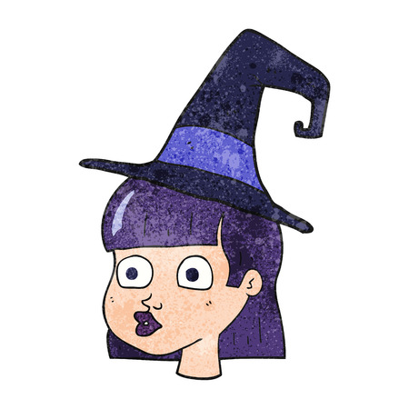 wide eyed: freehand textured cartoon witch