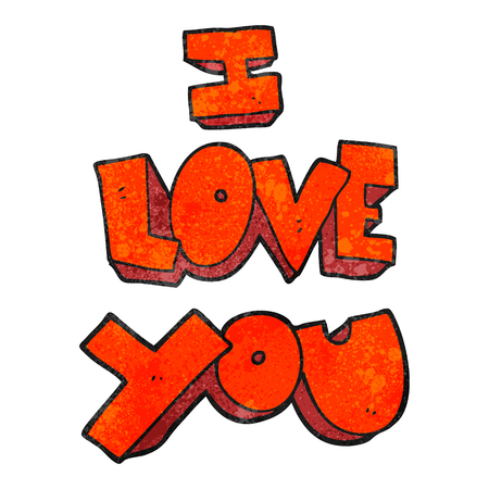 I love you freehand textured cartoon symbol