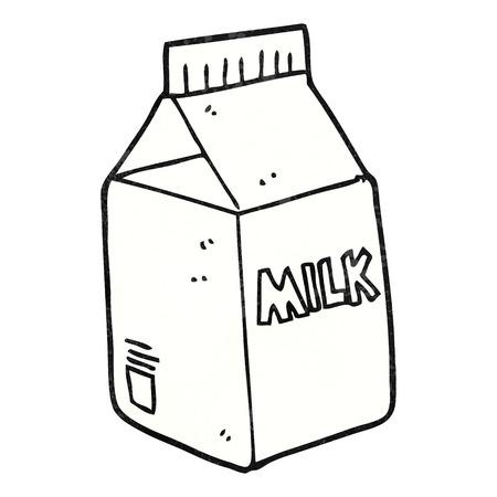 envase de leche: a mano alzada de dibujos animados con textura de cartón de leche Vectores