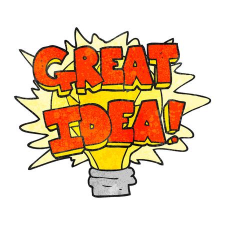 great idea: freehand textured cartoon great idea light bulb symbol Illustration