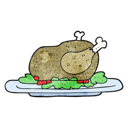 cooked: freehand textured cartoon cooked turkey