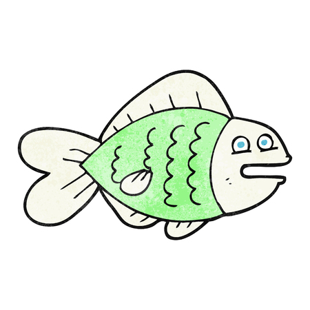 funny fish: freehand textured cartoon funny fish