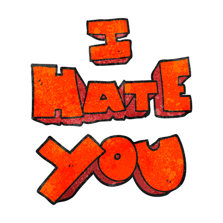hate: I hate you freehand textured cartoon symbol Illustration